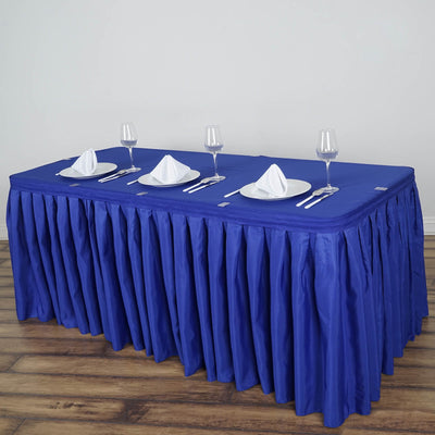 21FT Royal Blue Pleated Polyester Table Skirt