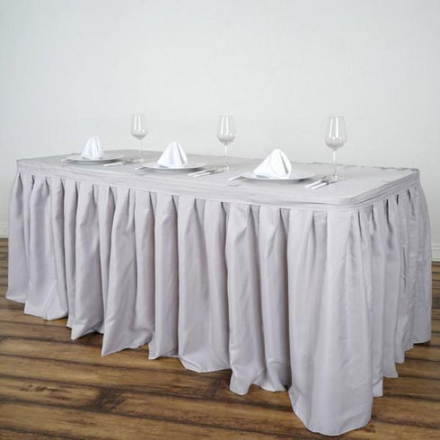 14FT Pleated Polyester Table Skirt - Silver
