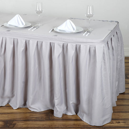 21FT Pleated Polyester Table Skirt - Silver