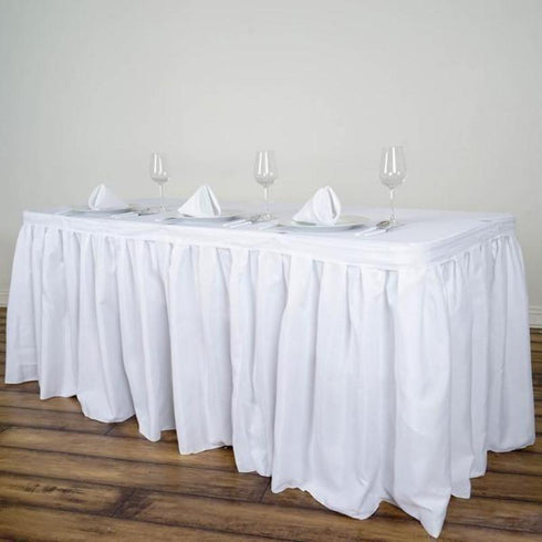 14FT Pleated Polyester Table Skirt - White