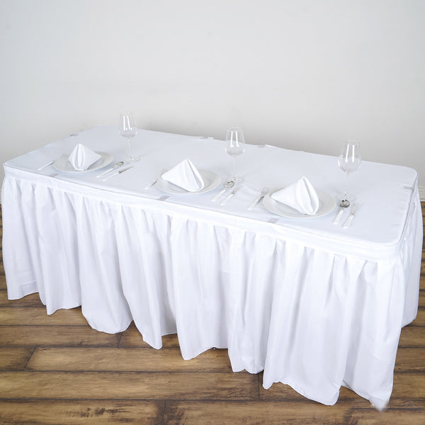 14FT White Pleated Polyester Table Skirt