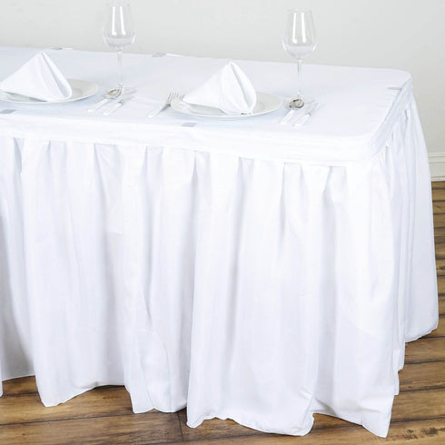 17FT Pleated Polyester Table Skirt - White