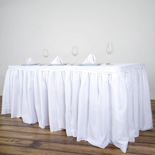 17FT White Pleated Polyester Table Skirt