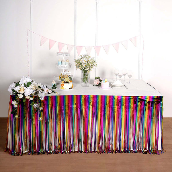 "29""x 9FT Rainbow Metallic Foil Fringe Table Skirt, Self Adhesive Party Table Skirt"