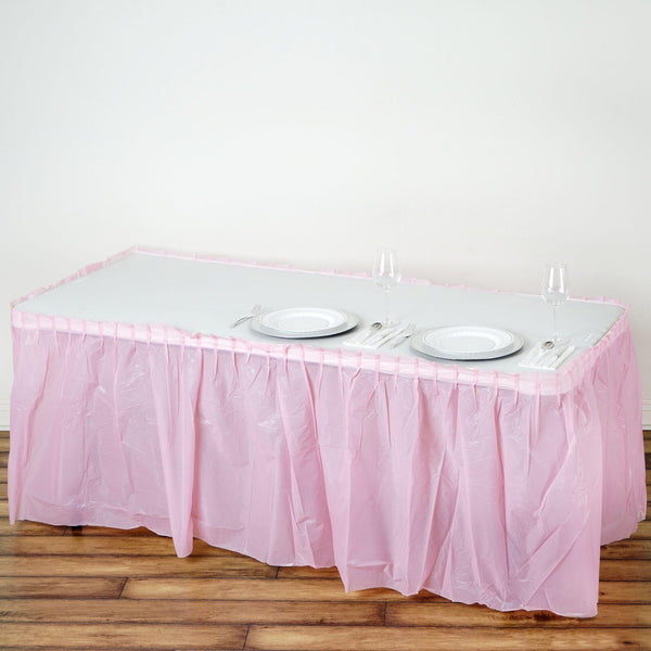 14FT Pink 10 Mil Thick | Pleated Plastic Table Skirts - Disposable Table Skirt Spill Proof