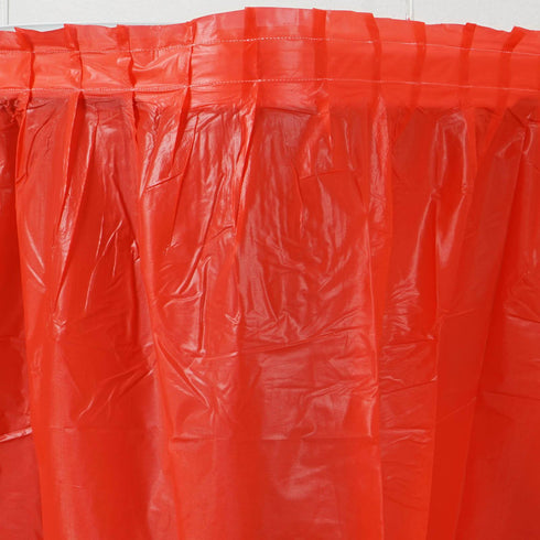 14FT Red 10 Mil Thick | Pleated Plastic Table Skirts - Disposable Table Skirt Spill Proof