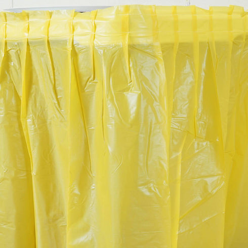 14ft Spotless Elegance Disposable Plastic Table Skirt - Yellow