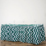 14FT Hunter Green Disposable Waterproof Plastic Chevron Banquet Table Skirt