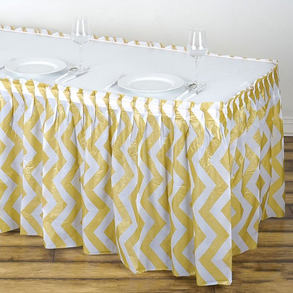 14FT Champagne 10 Mil Thick | Chevron Plastic Table Skirts - Disposable Table Skirt Spill Proof
