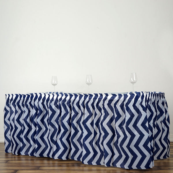 14FT Navy Blue 10 Mil Thick | Chevron Plastic Table Skirts - Disposable Table Skirt Spill Proof