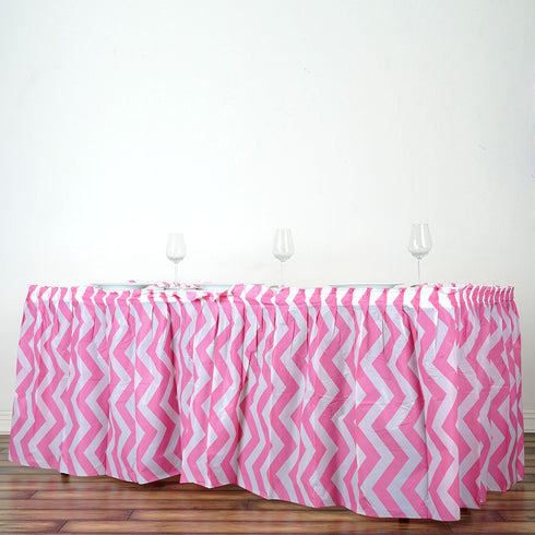 14FT Pink Disposable Waterproof Plastic Chevron Banquet Table Skirt