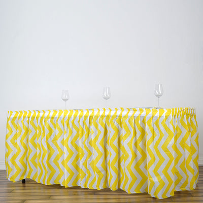 14FT Yellow Disposable Waterproof Plastic Chevron Banquet Table Skirt
