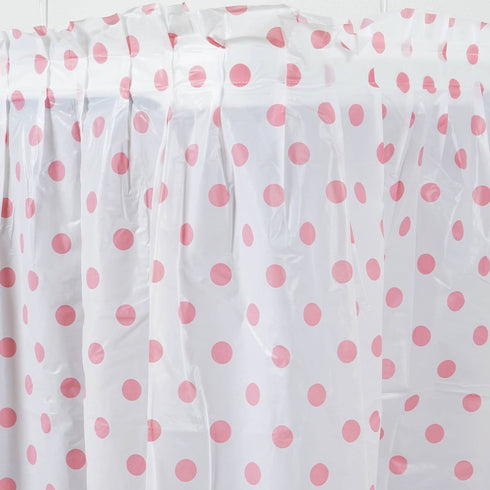14ft Perky Polka Dots Disposable Plastic Table Skirt - White / Pink