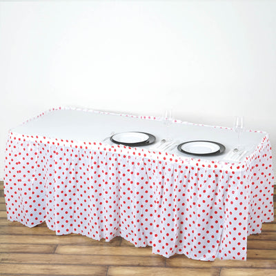 14FT White/Red Polka Dots Pleated Rectangular Disposable Waterproof Plastic Table Skirt