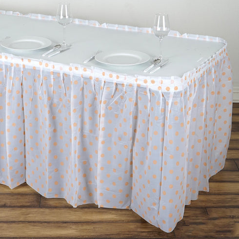 14FT 10 Mil Thick | Polka Dots Pleated Plastic Table Skirts - Disposable Table Skirt Spill Proof - White/Blush