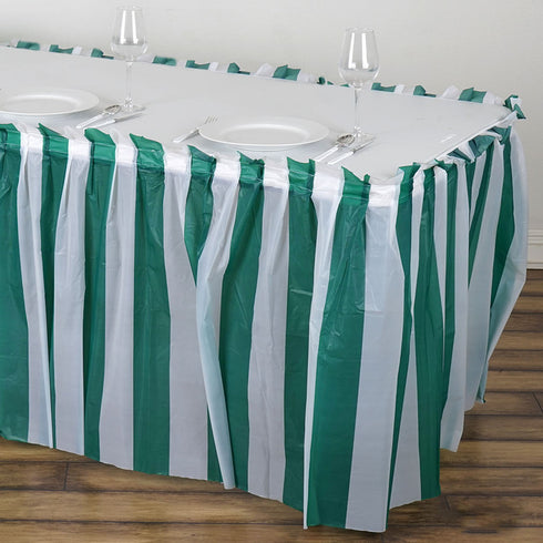 14FT White/Hunter Green Stripe Disposable Waterproof Plastic Table Skirt