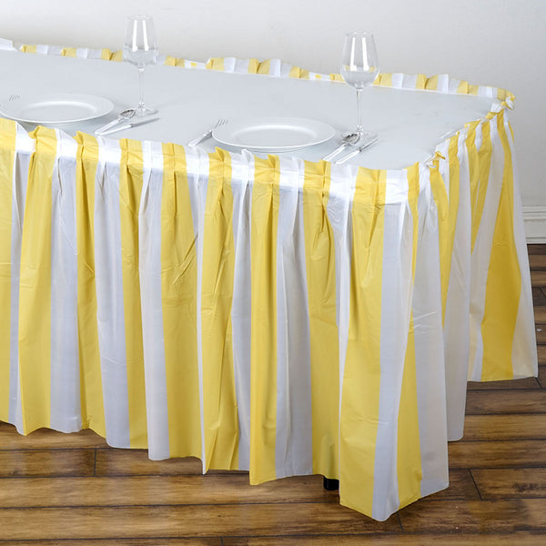 14FT 10 Mil Thick | Stripe Plastic Table Skirts - Disposable Table Skirt Spill Proof - White/Champagne