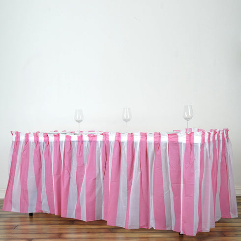 14FT 10 Mil Thick | Stripe Plastic Table Skirts - Disposable Table Skirt Spill Proof - White/Pink