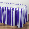 14FT 10 Mil Thick | Stripe Plastic Table Skirts - Disposable Table Skirt Spill Proof - White/Purple#whtbkgd
