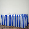 14FT 10 Mil Thick | Stripe Plastic Table Skirts - Disposable Table Skirt Spill Proof - White/Royal Blue