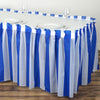 14FT 10 Mil Thick | Stripe Plastic Table Skirts - Disposable Table Skirt Spill Proof - White/Royal Blue#whtbkgd