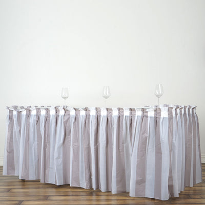 14FT White/Silver Stripe Disposable Waterproof Plastic Table Skirt