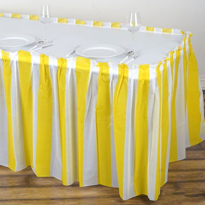 14FT White/Yellow Stripe Disposable Waterproof Plastic Table Skirt