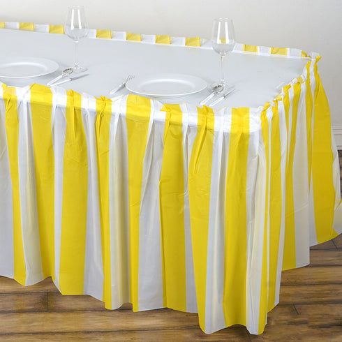 14FT 10 Mil Thick | Stripe Plastic Table Skirts - Disposable Table Skirt Spill Proof - White/Yellow
