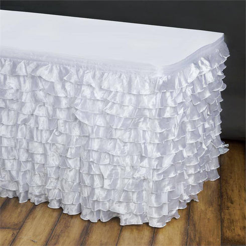 14ft Flamenca Satin Ruffle Table Skirt - White
