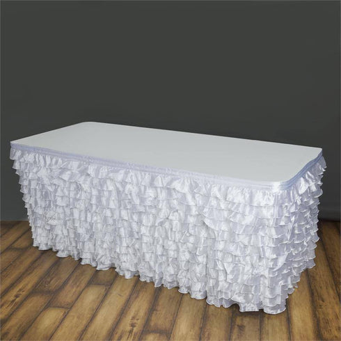 17ft Flamenca Satin Ruffle Table Skirt - White