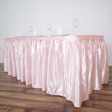 14FT Blush Pleated Satin Table Skirt
