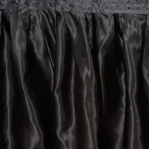 17FT Black Pleated Satin Table Skirt