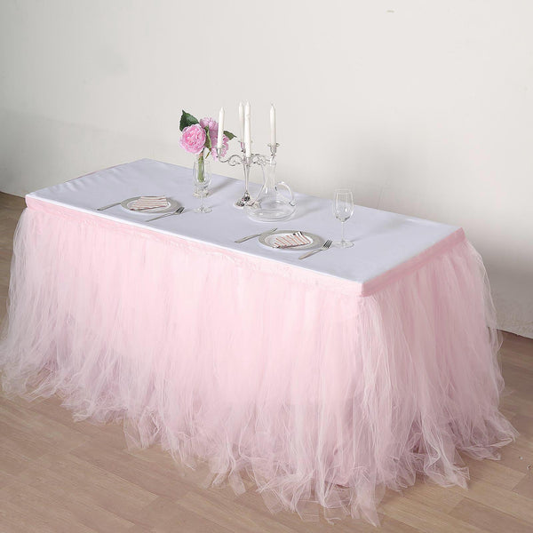 14FT - 4 Layer Tulle Tutu Pleated Table Skirts - Rose Gold | Blush