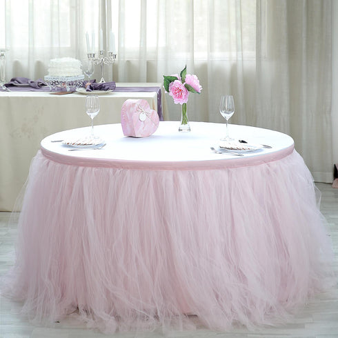 17 FT Blush - Rose Gold 4 Layer Tulle Tutu Pleated Table Skirts