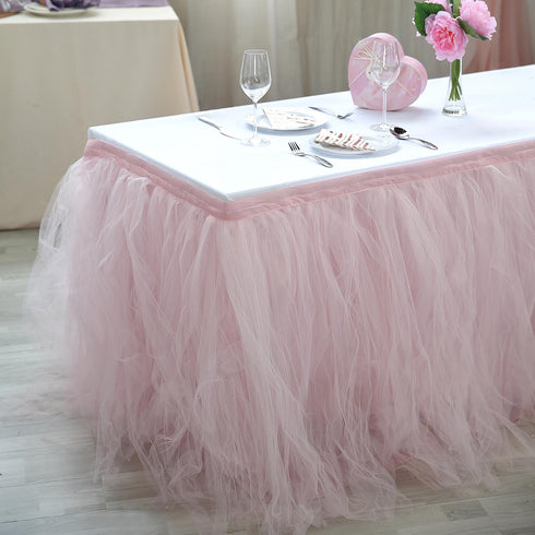 21 FT Blush - Rose Gold 4 Layer Tulle Tutu Pleated Table Skirts