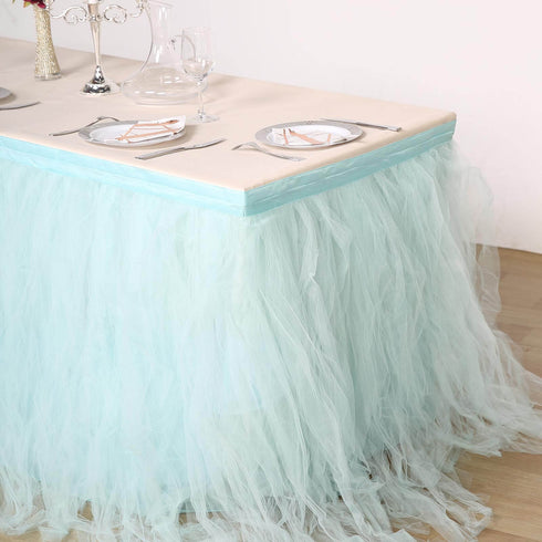 17FT Serenity Blue 4 Layer Tulle Tutu Pleated Table Skirts
