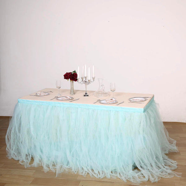 21FT Serenity Blue 4 Layer Tulle Tutu Pleated Table Skirts