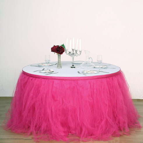 14FT Fushia 4 Layer Tulle Tutu Pleated Table Skirts