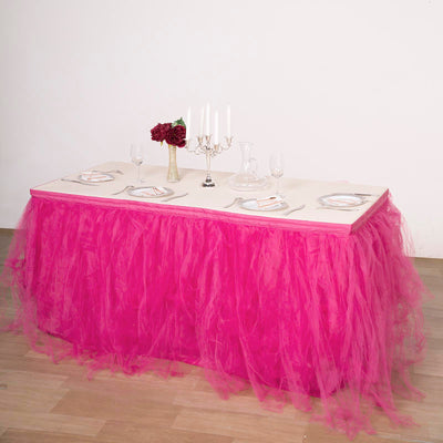 17ft FULL SIZE 8 Layer Tulle - Tutu Table Skirt  - Fushia