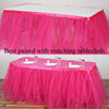 17FT Fushia 8 Layer Tulle Tutu Pleated Table Skirts