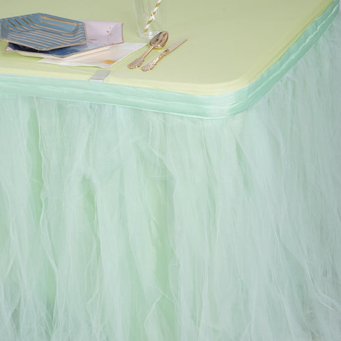 17 FT Mint Green 4 Layer Tulle Tutu Pleated Table Skirts