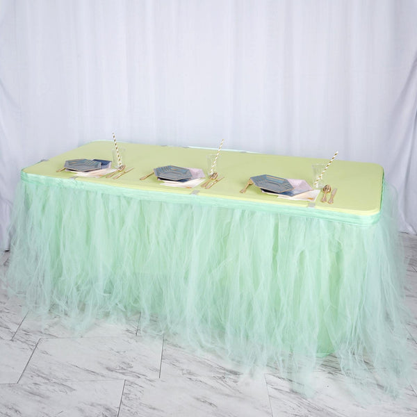 17FT Mint Green 4 Layer Tulle Tutu Pleated Table Skirts