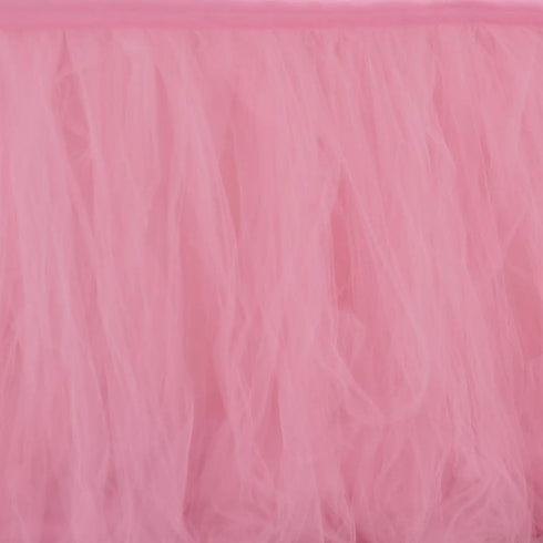 21FT Pink|Rose Quartz 4 Layer Tulle Tutu Pleated Table Skirt