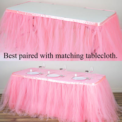 14FT Pink|Rose Quartz 8 Layer Tulle Tutu Pleated Table Skirts