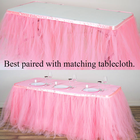 17FT Pink|Rose Quartz 8 Layer Tulle Tutu Pleated Table Skirts