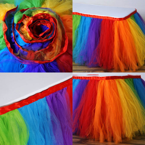 14ft FULL SIZE 8 Layer Tulle - Tutu Table Skirt - Rainbow