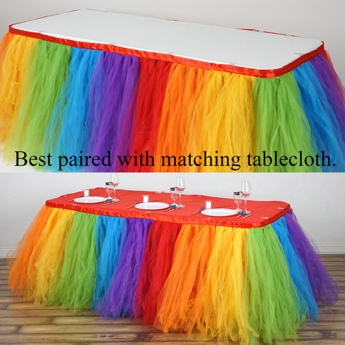 14FT Rainbow 8 Layer Tulle Tutu Pleated Table Skirts
