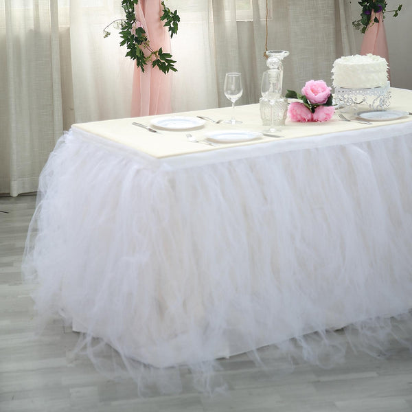 21ft 8 Layer Tulle Tutu Pleated Table Skirts White