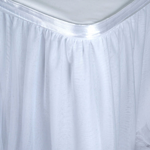 14FT White 3 Layer Tulle Tutu Pleated Table Skirt With Satin Attachment