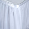 17FT White 3 Layer Tulle Tutu Pleated Table Skirt With Satin Attachment